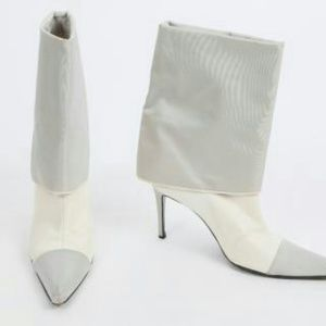 CHANEL White Grey Fold Over Boots Booties
